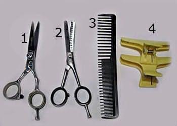 Необхідні інструменти (прямі ножиці, філіровочние ножиці односторонні, гребінець з рідкісними і широкими зубчиками, зажим)