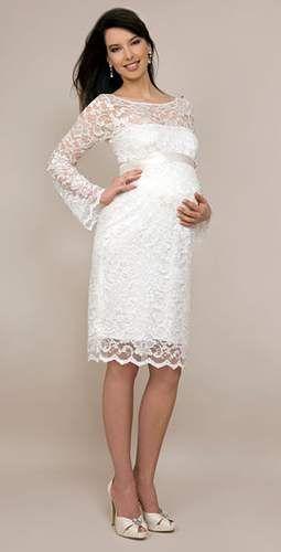 Коротке плаття для вагітної нареченої біле