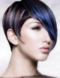 Дівчатам зі світлим типом шкіри і темними очима підійде колорування синього кольору на темно- каштанових волоссі в короткій стрижці з подовженою чубчиком