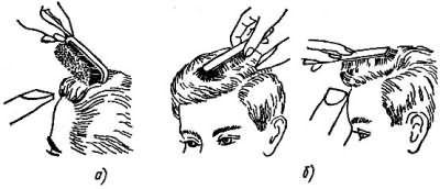Малюнок а) - напрям щітки для укладання без пробора- малюнок б) - напрям щітки для укладання з проділом.