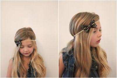 зачіски з білими бантами для дівчаток