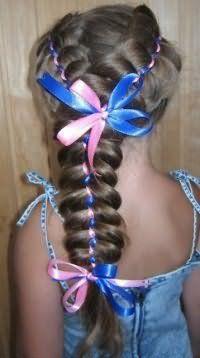 Зачіска з плетінням та стрічками