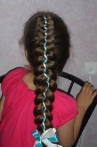Зачіска коса з стрічками
