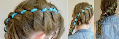 Міли і сучасні зачіски з плетінням з чубчика або уздовж неї з підхопленням.