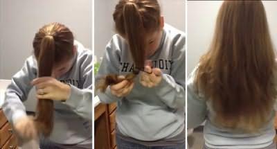 Виходять рівно підстрижене волосся середньої довжини