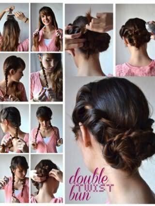 Зачіска подвійний пучок: покрокова технологія на фото