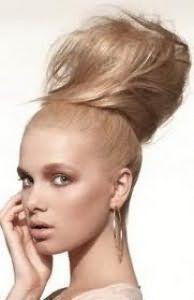 Ефектна висока зачіска пучок для довгих локонів світло-русявого кольору