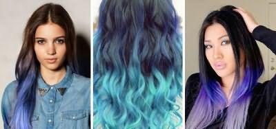 Сині кінчики і темні корені волосся