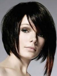 Асиметрична креативна стрижка з подовженою чубчиком для середніх волосся чорного тону