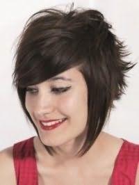 Популярна зачіска з укладанням для середніх каштанових волосся в стилі емо