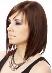 стрижки на волосся середньої довжини з чубком 3