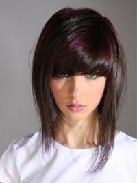 Стильна зачіска для підлітків на середні волосся з додатковим обсягом і густим чубчиком ідеально підійде для шатенок і буде гармоніювати з мелірування сливового кольору і блакитний підведенням для очей