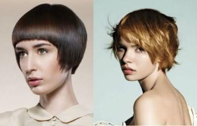 Коротка зачіска з рівною і косою лінією зрізу