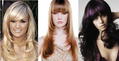 Зачіски з косою чубчиком на довге волосся