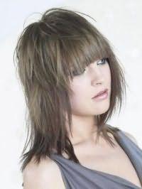 Укладання жіночої стрижки каскад з прямою чубчиком і фарбуванням довгого волосся в попелястий колір добре підійде як для створення романтичного образу, так і для повсякденного стилю